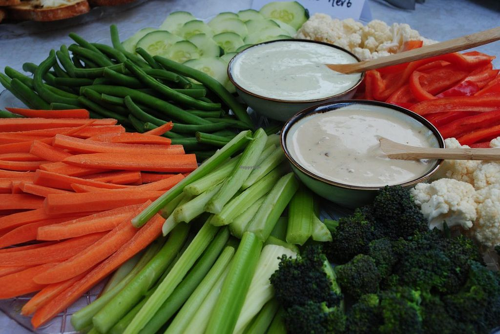 "Photo of Revolution in the Kitchen  by <a href=""/members/profile/kitchen%20queen"">kitchen queen</a> <br/>Farmer's Market Vegetable Crudites served with Vegan Sundried Tomato Ranch Dip and Raw Herbed Cashew Dip