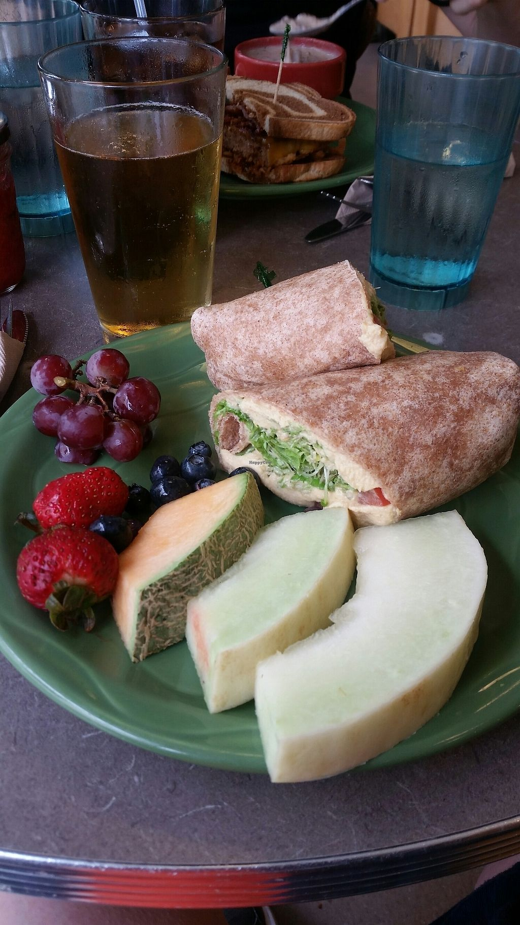 """Photo of Snow City Cafe  by <a href=""""/members/profile/Christel79"""">Christel79</a> <br/>hummus wrap with fresh fruit <br/> July 28, 2017  - <a href='/contact/abuse/image/45595/285717'>Report</a>"""