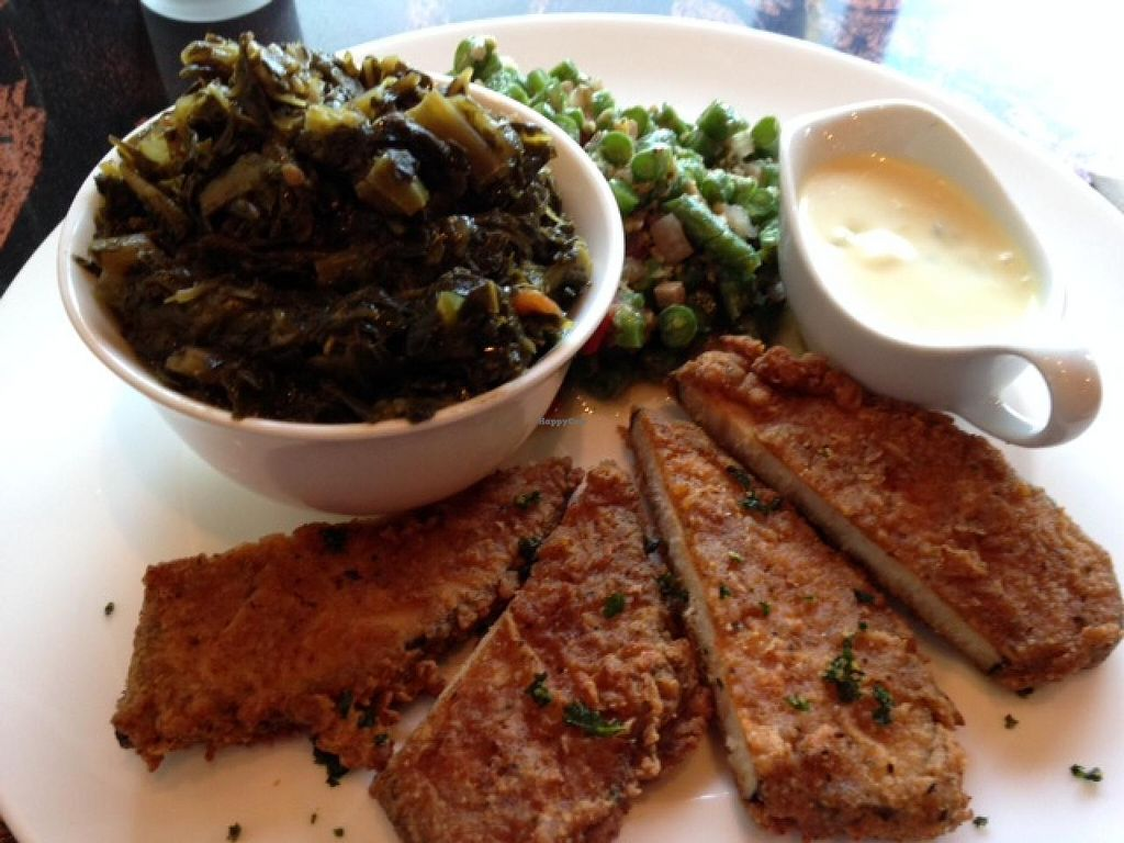 """Photo of Evolve  by <a href=""""/members/profile/cookiem"""">cookiem</a> <br/>Seaweed wrapped soy fish with collards and raw green beans <br/> March 1, 2014  - <a href='/contact/abuse/image/45622/64982'>Report</a>"""