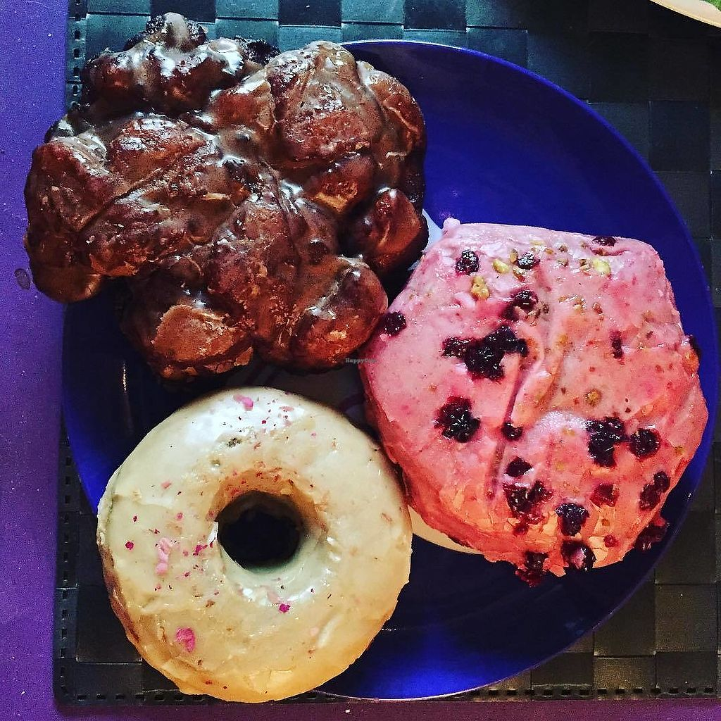 "Photo of Cartems Donuterie  by <a href=""/members/profile/LindseyElizabeth"">LindseyElizabeth</a> <br/>Apple fritter, a special vegan stuffy, and earl grey! <br/> August 29, 2017  - <a href='/contact/abuse/image/45640/298833'>Report</a>"