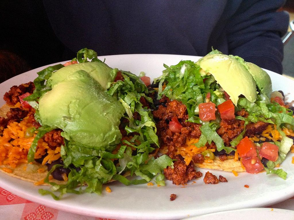 Photo of Cafe Corazon  by RamblingVegans <br/>Vegan chorizo tostados <br/> March 8, 2014  - <a href='/contact/abuse/image/45657/65531'>Report</a>