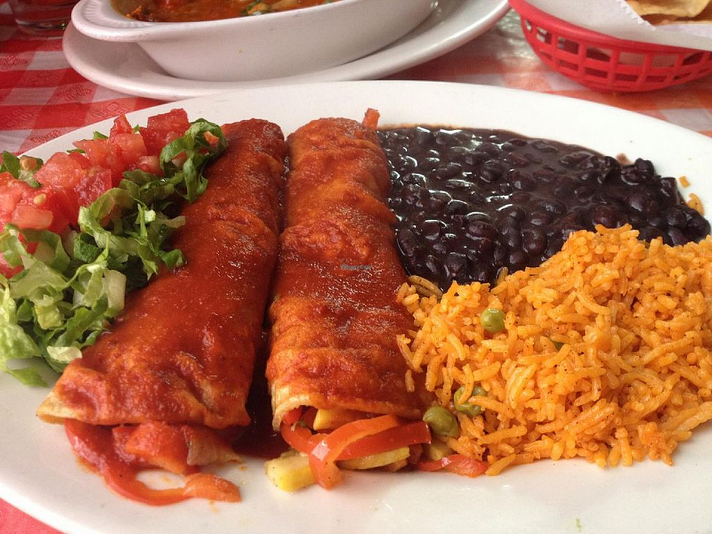 Photo of Cafe Corazon  by RamblingVegans <br/>Vegan enchiladas <br/> March 8, 2014  - <a href='/contact/abuse/image/45657/65532'>Report</a>