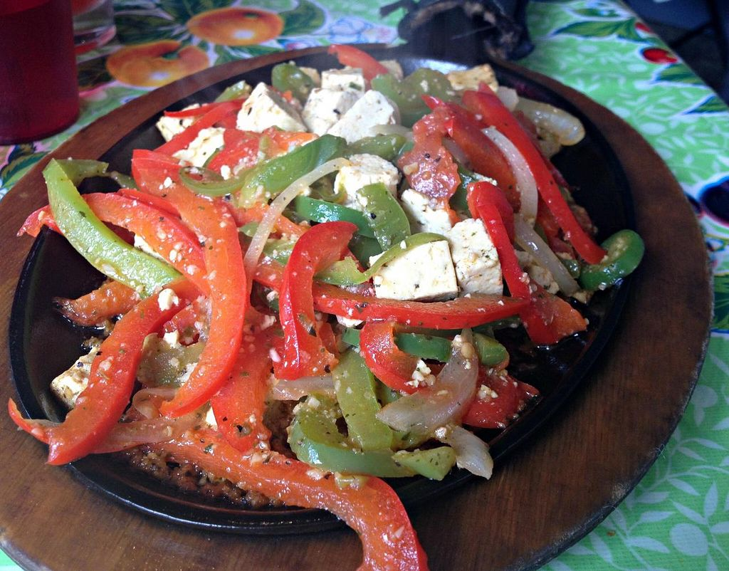 Photo of Cafe Corazon  by RamblingVegans <br/>Herbed tofu vegan fajitas.  They come with corn tortillas, black beans and rice.   <br/> May 3, 2014  - <a href='/contact/abuse/image/45657/69285'>Report</a>
