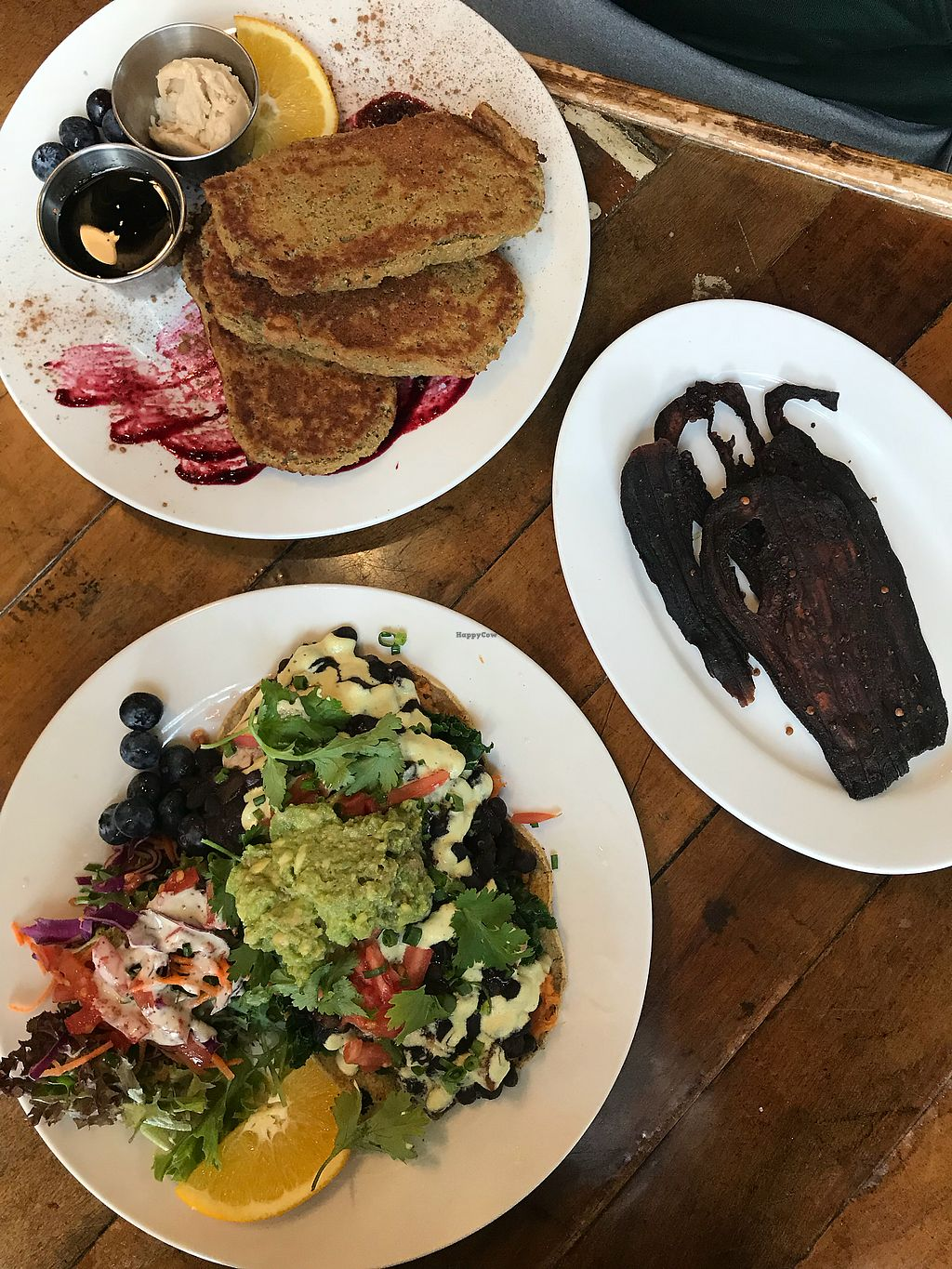 """Photo of Pingala Cafe  by <a href=""""/members/profile/theveganregan"""">theveganregan</a> <br/>Rancheros, French Toast, Eggplant Bacon <br/> November 11, 2017  - <a href='/contact/abuse/image/45669/324288'>Report</a>"""