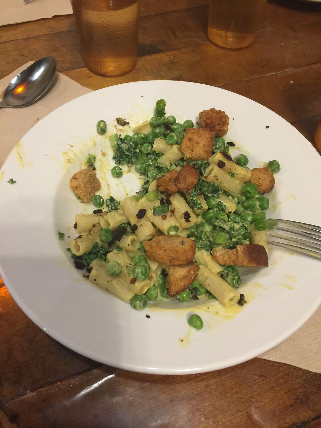 """Photo of Pingala Cafe  by <a href=""""/members/profile/Jennycraig"""">Jennycraig</a> <br/>Mac n Cheese with eggplant bacon and peas. TheBomb.com! <br/> January 25, 2018  - <a href='/contact/abuse/image/45669/350938'>Report</a>"""