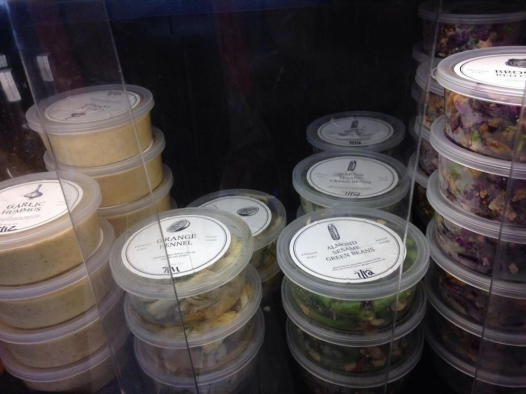 """Photo of Pleasant Pops  by <a href=""""/members/profile/cookiem"""">cookiem</a> <br/>Cold case vegan salads to go for $4 each <br/> July 9, 2014  - <a href='/contact/abuse/image/45671/73604'>Report</a>"""
