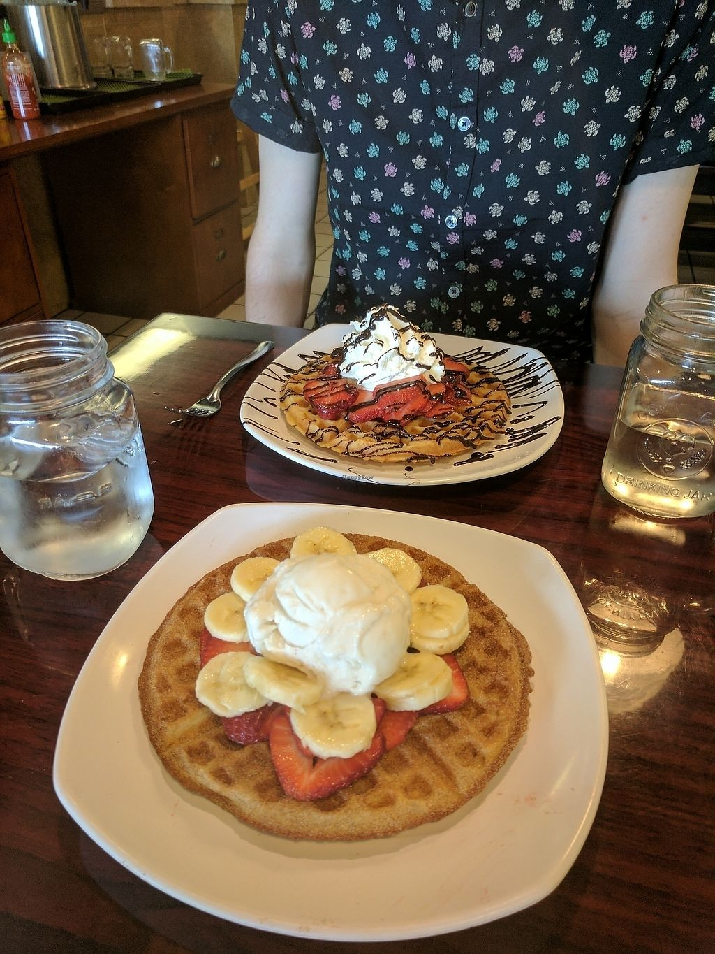 """Photo of Tiabi Coffee and Waffle Bar  by <a href=""""/members/profile/Taylorkaykreider"""">Taylorkaykreider</a> <br/>Vegan Waffle (and a non-vegan covered in chocolate) <br/> July 13, 2017  - <a href='/contact/abuse/image/45690/280005'>Report</a>"""