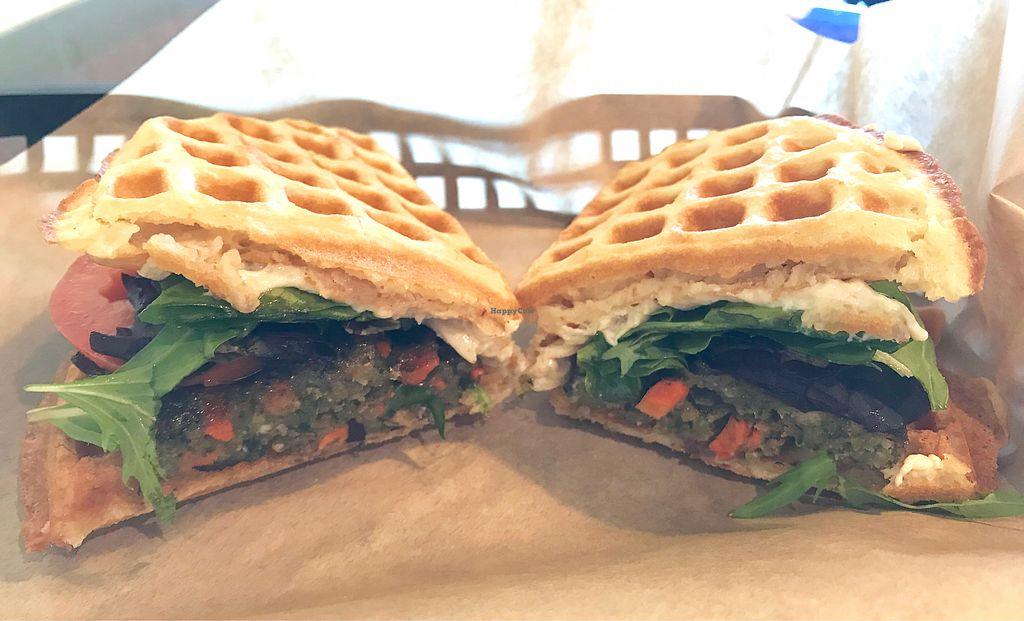 """Photo of Tiabi Coffee and Waffle Bar  by <a href=""""/members/profile/Remerson13"""">Remerson13</a> <br/>Vegan Guru Burger Wafflewich <br/> December 30, 2017  - <a href='/contact/abuse/image/45690/341020'>Report</a>"""