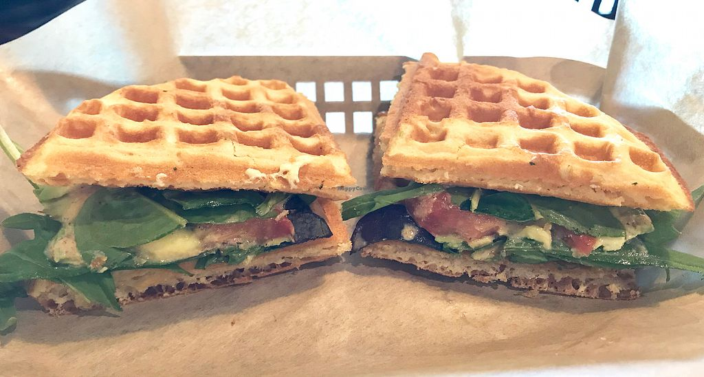 """Photo of Tiabi Coffee and Waffle Bar  by <a href=""""/members/profile/Remerson13"""">Remerson13</a> <br/>Vegan Wafflewich <br/> December 30, 2017  - <a href='/contact/abuse/image/45690/341021'>Report</a>"""