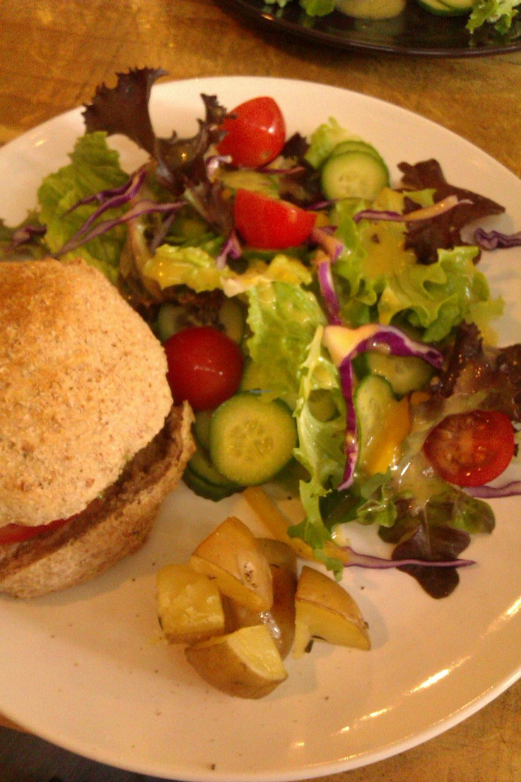 "Photo of CLOSED: Light Radiant Food  by <a href=""/members/profile/T2Veggie"">T2Veggie</a> <br/>Black bean burger and salad.  <br/> March 2, 2015  - <a href='/contact/abuse/image/45712/94496'>Report</a>"