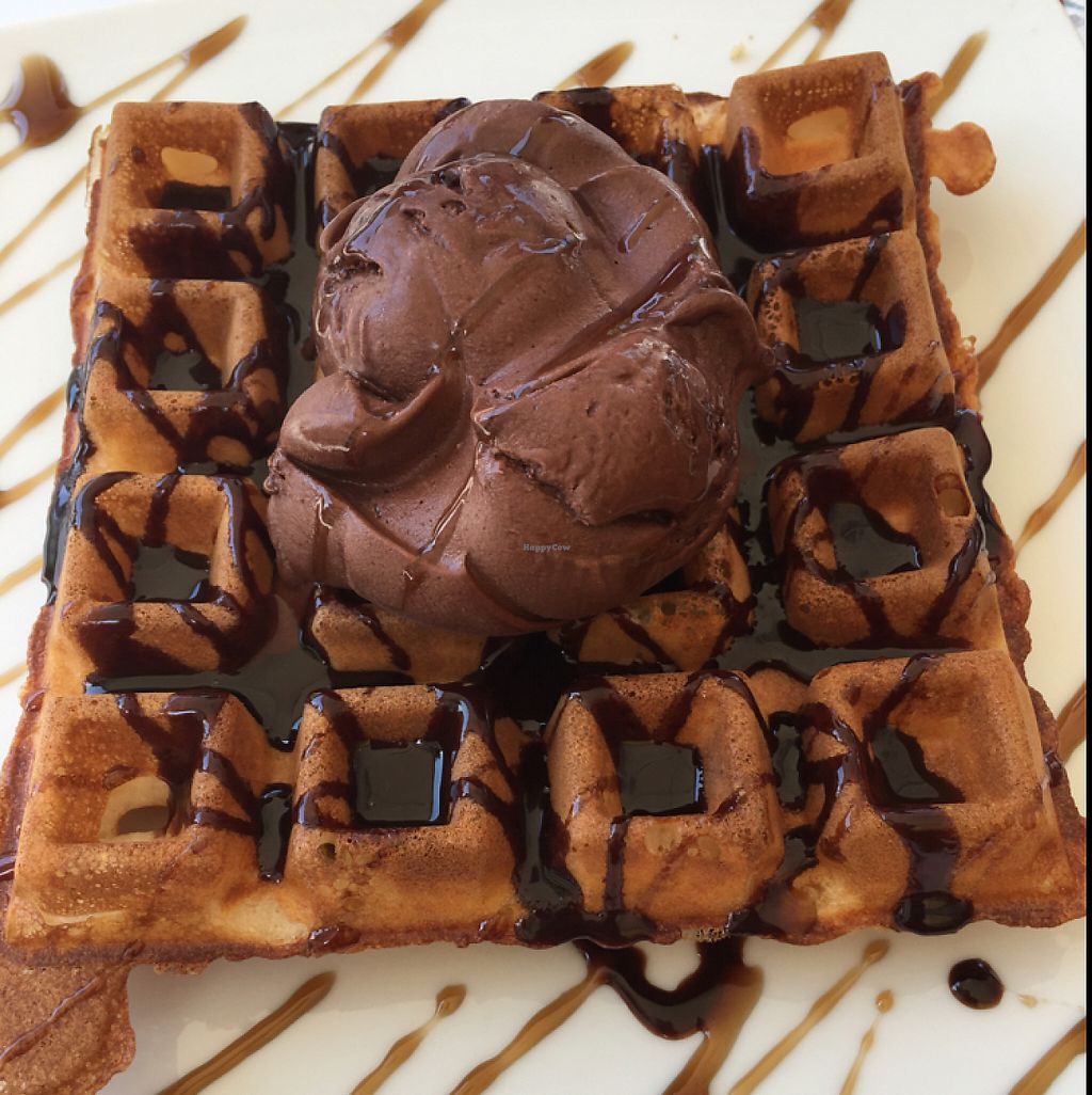 """Photo of Ice Queen Gelato  by <a href=""""/members/profile/VanessaDawson"""">VanessaDawson</a> <br/>vegan waffle with vegan Nutella and vegan gelato  <br/> June 6, 2017  - <a href='/contact/abuse/image/45730/266315'>Report</a>"""