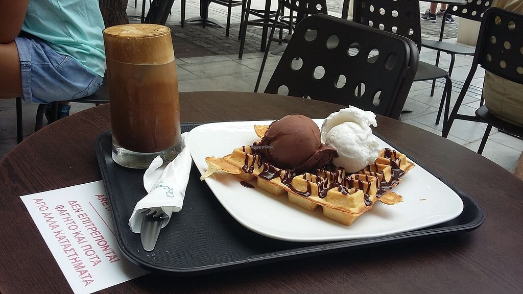 """Photo of Ice Queen Gelato  by <a href=""""/members/profile/lisaballard"""">lisaballard</a> <br/>Vegan waffle with vegan chocolate and coconut gelato and a soya frappe. YUM! <br/> September 12, 2017  - <a href='/contact/abuse/image/45730/303577'>Report</a>"""