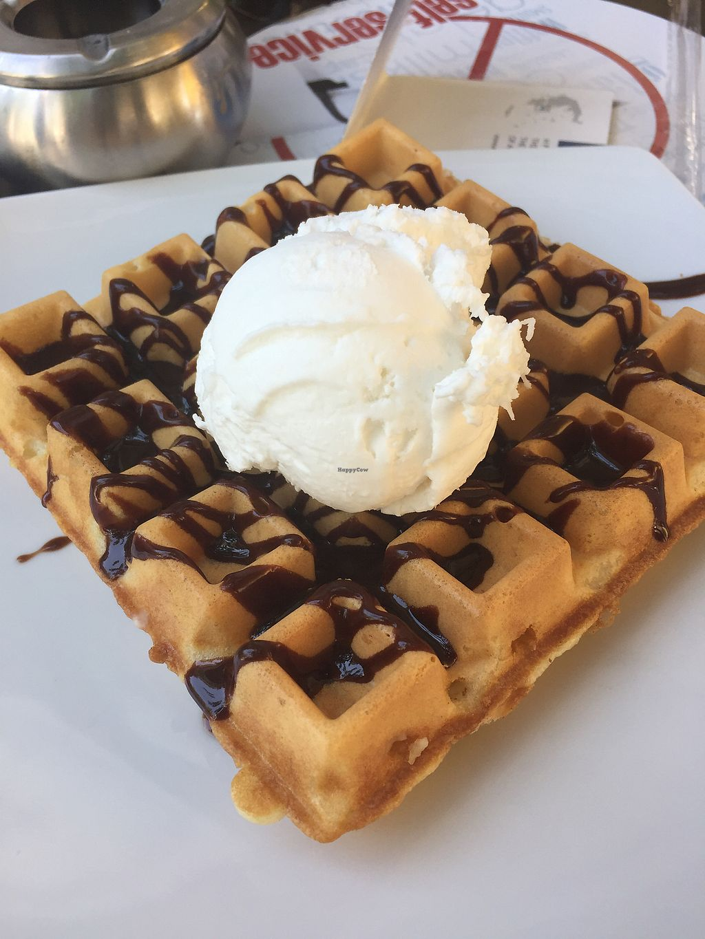 """Photo of Ice Queen Gelato  by <a href=""""/members/profile/TheVeganNarwhal"""">TheVeganNarwhal</a> <br/>Vegan waffle w/ choco sauce and gelato <br/> February 12, 2018  - <a href='/contact/abuse/image/45730/358265'>Report</a>"""