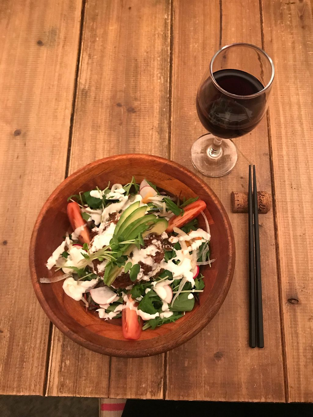 """Photo of Paprika Shokudo Vegan  by <a href=""""/members/profile/MelissaW"""">MelissaW</a> <br/>Burger/rice bowl with wine  <br/> February 4, 2018  - <a href='/contact/abuse/image/45738/354805'>Report</a>"""