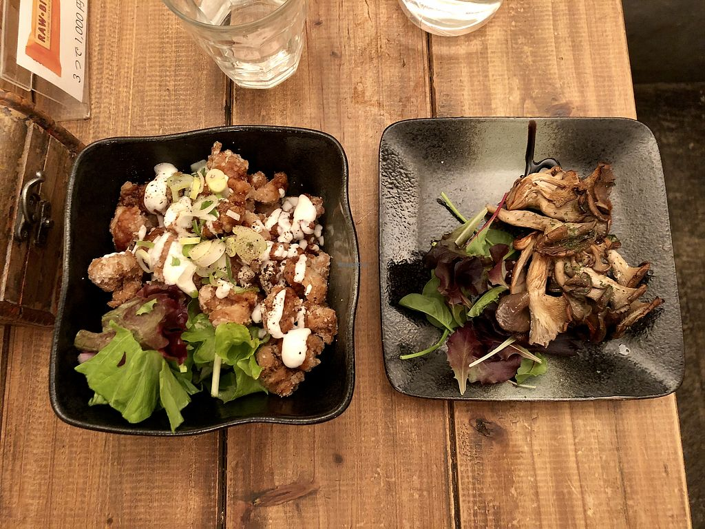 """Photo of Paprika Shokudo Vegan  by <a href=""""/members/profile/Drunkpanda"""">Drunkpanda</a> <br/>Fried Soy meat Karaage with Brown Rice Bowl and Deep fried Oyster Mushrooms <br/> April 14, 2018  - <a href='/contact/abuse/image/45738/385926'>Report</a>"""