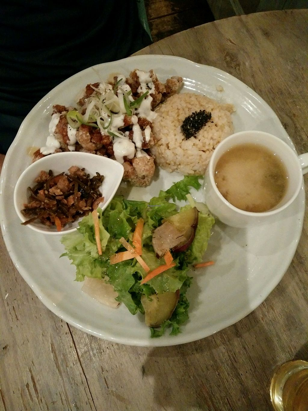 """Photo of Paprika Shokudo Vegan  by <a href=""""/members/profile/fatmeercat"""">fatmeercat</a> <br/>Karage set meal (marinated fried chicken) <br/> April 20, 2018  - <a href='/contact/abuse/image/45738/388497'>Report</a>"""