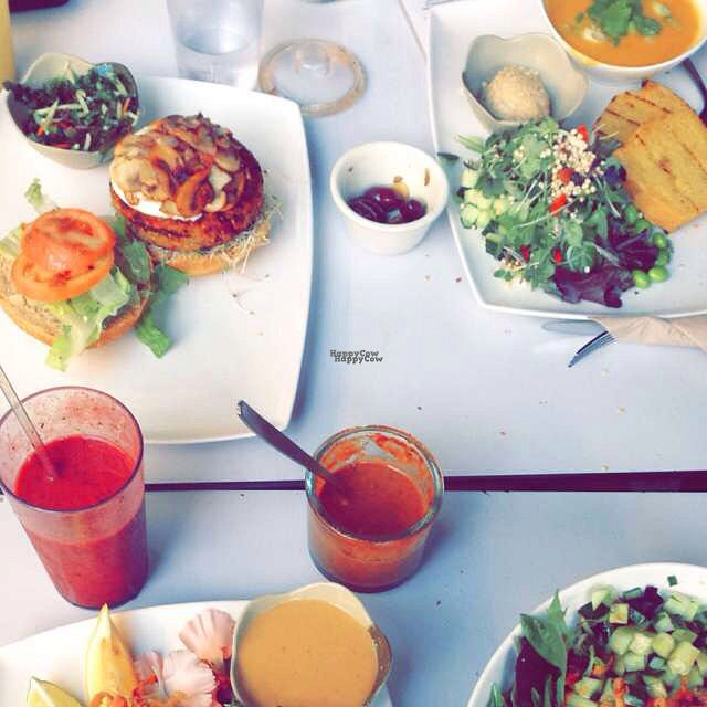 """Photo of Fresh on Eglinton  by <a href=""""/members/profile/keets.the.cat"""">keets.the.cat</a> <br/>burger, smoothie, soup and salad <br/> August 29, 2016  - <a href='/contact/abuse/image/45740/172079'>Report</a>"""
