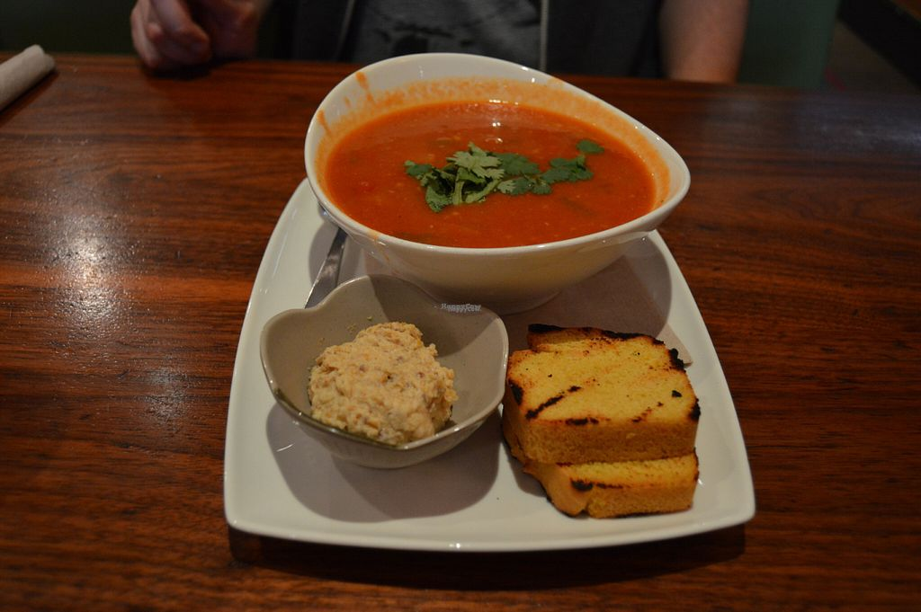 """Photo of Fresh on Eglinton  by <a href=""""/members/profile/Vegan%20GiGi"""">Vegan GiGi</a> <br/>Bowl of spicy soup with cornbread and flax hummus. Yum yum <br/> October 10, 2016  - <a href='/contact/abuse/image/45740/180908'>Report</a>"""