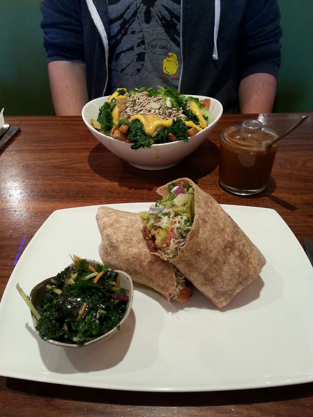"""Photo of Fresh on Eglinton  by <a href=""""/members/profile/Vegan%20GiGi"""">Vegan GiGi</a> <br/>Banquet burger with kale slaw (monthly special), and green poutine with hot sauce. YUM <br/> October 10, 2016  - <a href='/contact/abuse/image/45740/180909'>Report</a>"""