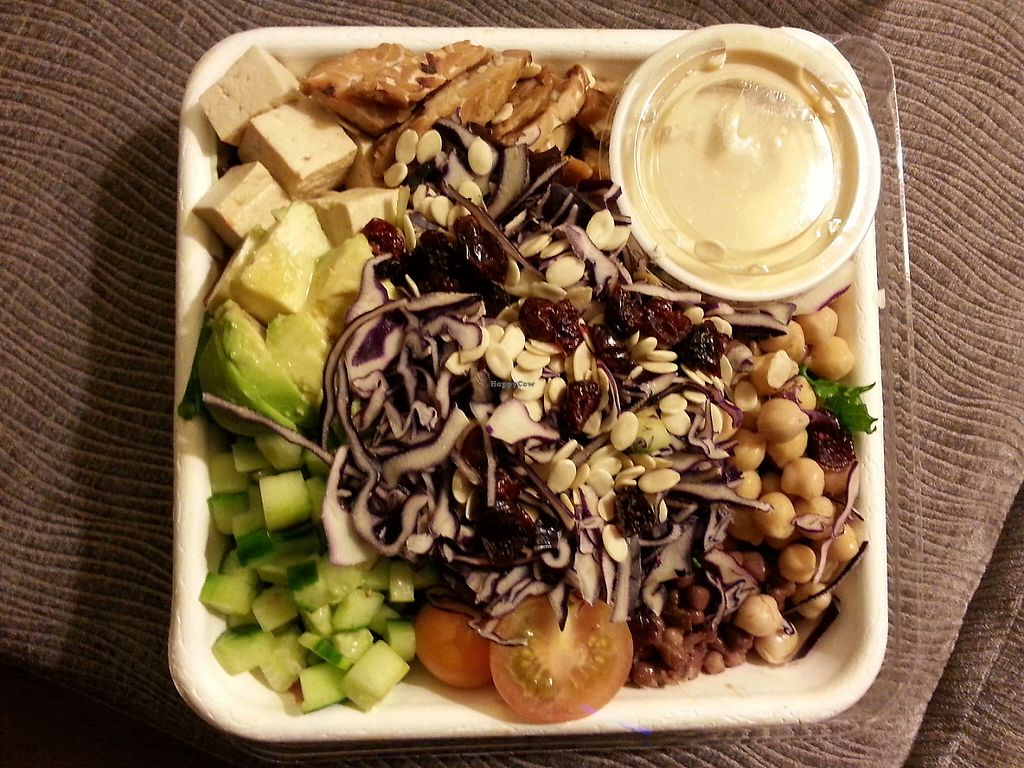 """Photo of Fresh on Eglinton  by <a href=""""/members/profile/Vegan%20GiGi"""">Vegan GiGi</a> <br/>Monster protein salad (to go). Grilled tempeh, marinated tofu cubes, avocado, chick peas, dried cranberries, marinated adzuki beans, red cabbage, cucumber, grape tomatoes & hulled watermelon seeds on lettuce <br/> May 8, 2017  - <a href='/contact/abuse/image/45740/257104'>Report</a>"""