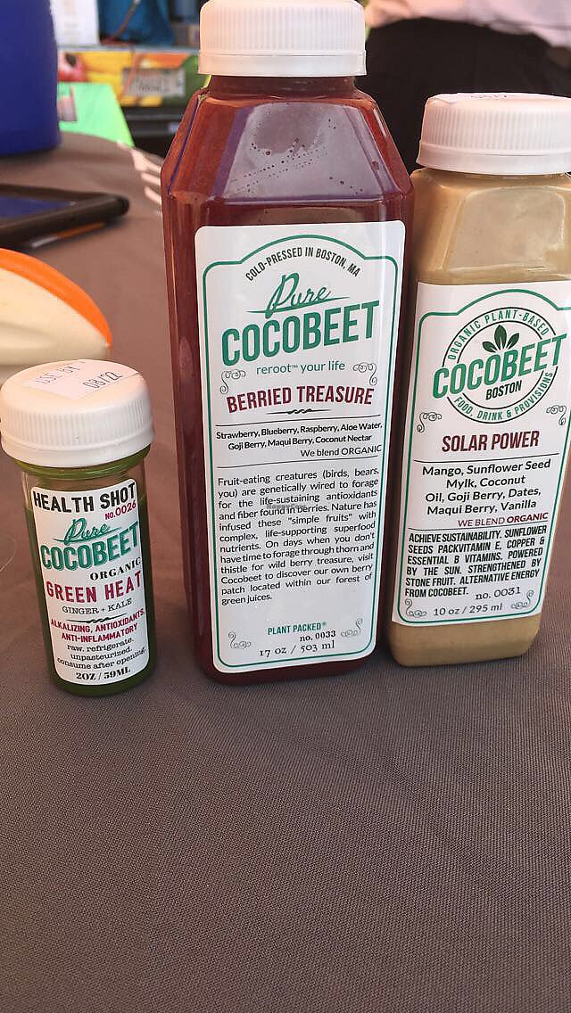 "Photo of Cocobeet  by <a href=""/members/profile/MorganM"">MorganM</a> <br/>Two juices and one wellness shot <br/> July 8, 2017  - <a href='/contact/abuse/image/45751/277752'>Report</a>"