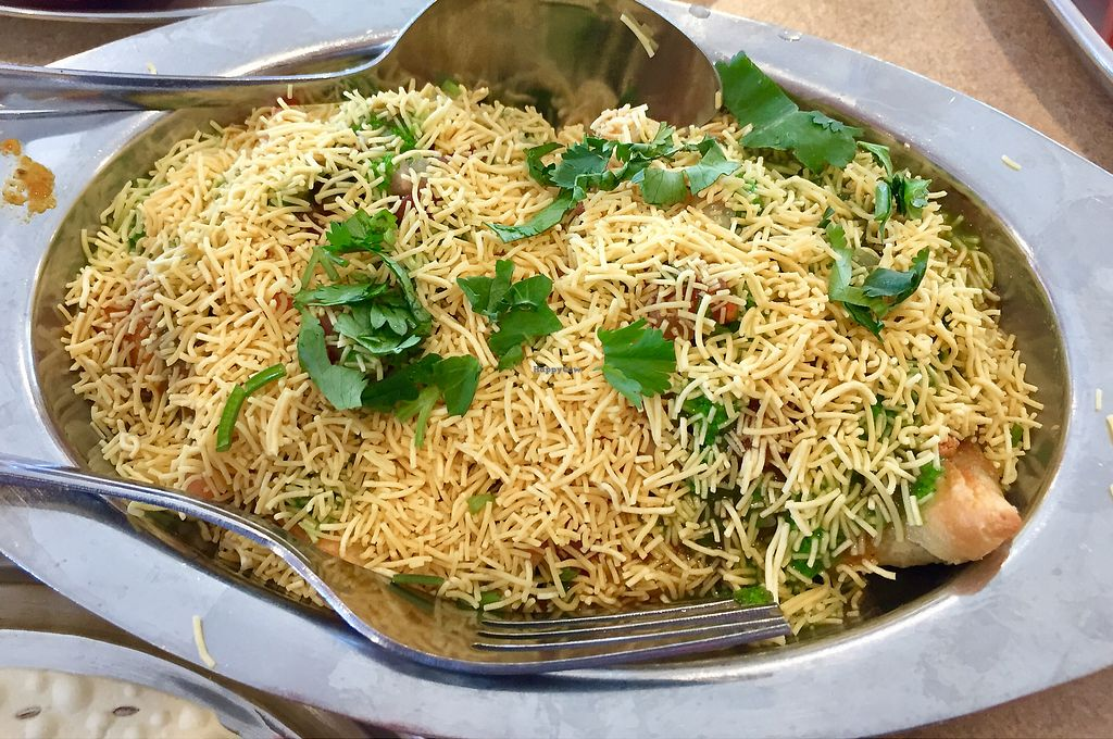 """Photo of Jay Bharat  by <a href=""""/members/profile/SFRobbie"""">SFRobbie</a> <br/>Samosa Chaat: scrumptious! <br/> March 28, 2018  - <a href='/contact/abuse/image/45772/377500'>Report</a>"""