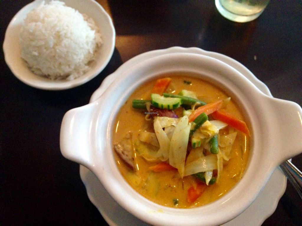 """Photo of Lily Thai  by <a href=""""/members/profile/catching_dreams"""">catching_dreams</a> <br/>Lily Thai - Yellow vegetable curry served with rice <br/> July 27, 2015  - <a href='/contact/abuse/image/45785/111187'>Report</a>"""