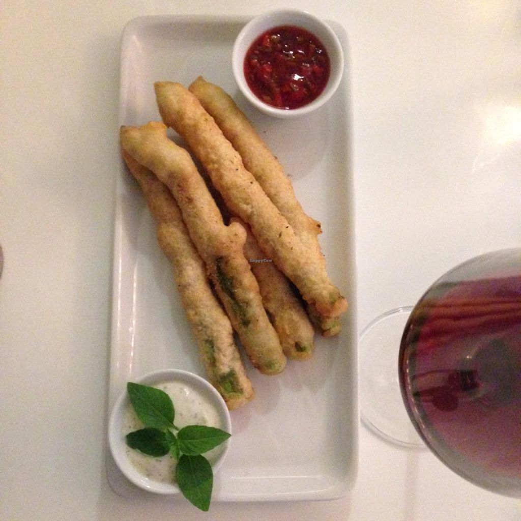 """Photo of The Green Garden  by <a href=""""/members/profile/Sassburger"""">Sassburger</a> <br/>Tempura Asparagus with dipping sauces - Vegan <br/> June 16, 2015  - <a href='/contact/abuse/image/45824/106119'>Report</a>"""