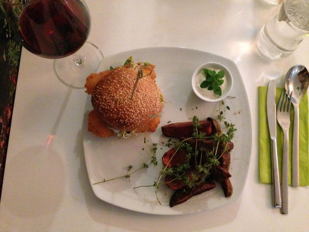 """Photo of The Green Garden  by <a href=""""/members/profile/Sassburger"""">Sassburger</a> <br/>Vegan Burger with Wedges  <br/> June 16, 2015  - <a href='/contact/abuse/image/45824/106120'>Report</a>"""