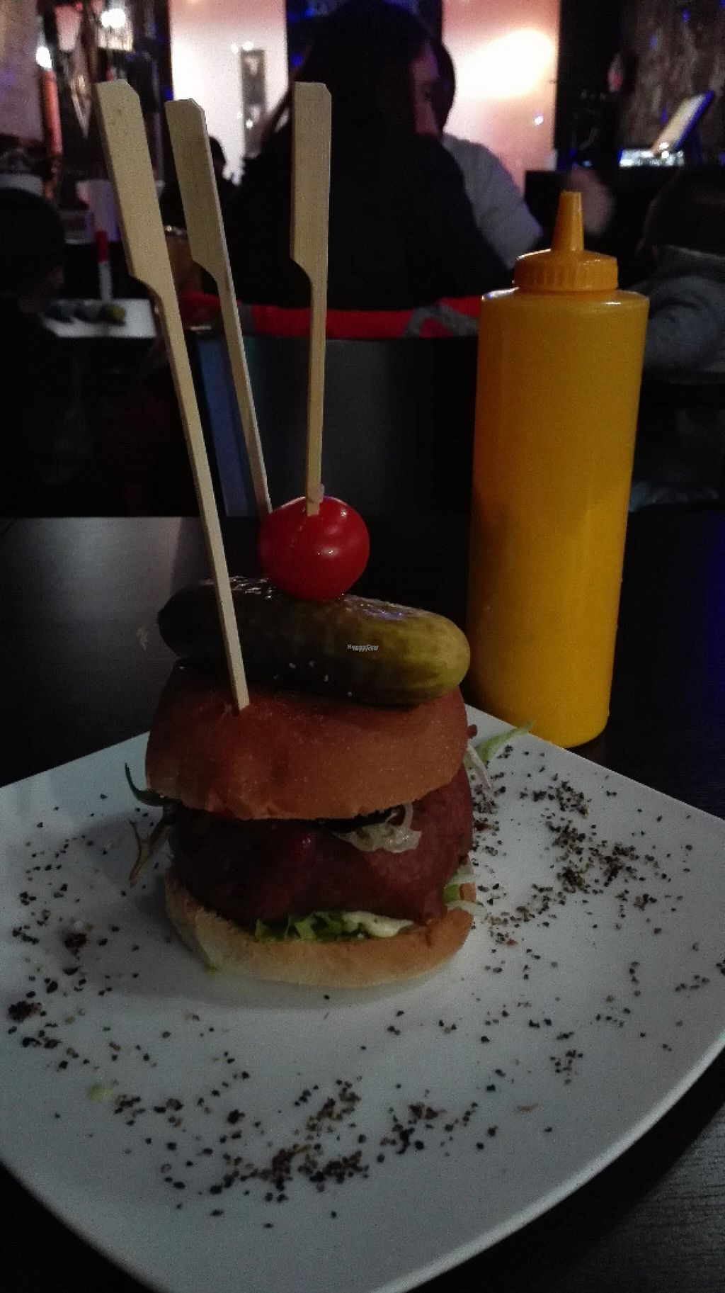 """Photo of Lily Burger  by <a href=""""/members/profile/VeganVenturer"""">VeganVenturer</a> <br/>Oldtimer burger. The yellow can has vegan mayo and you can use it if you wish <br/> November 6, 2016  - <a href='/contact/abuse/image/45852/186876'>Report</a>"""