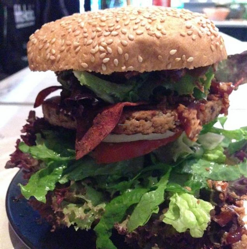"""Photo of Lily Burger  by <a href=""""/members/profile/wrathofmanatee"""">wrathofmanatee</a> <br/>vegan seitan, bacon burger <br/> May 9, 2014  - <a href='/contact/abuse/image/45852/69705'>Report</a>"""