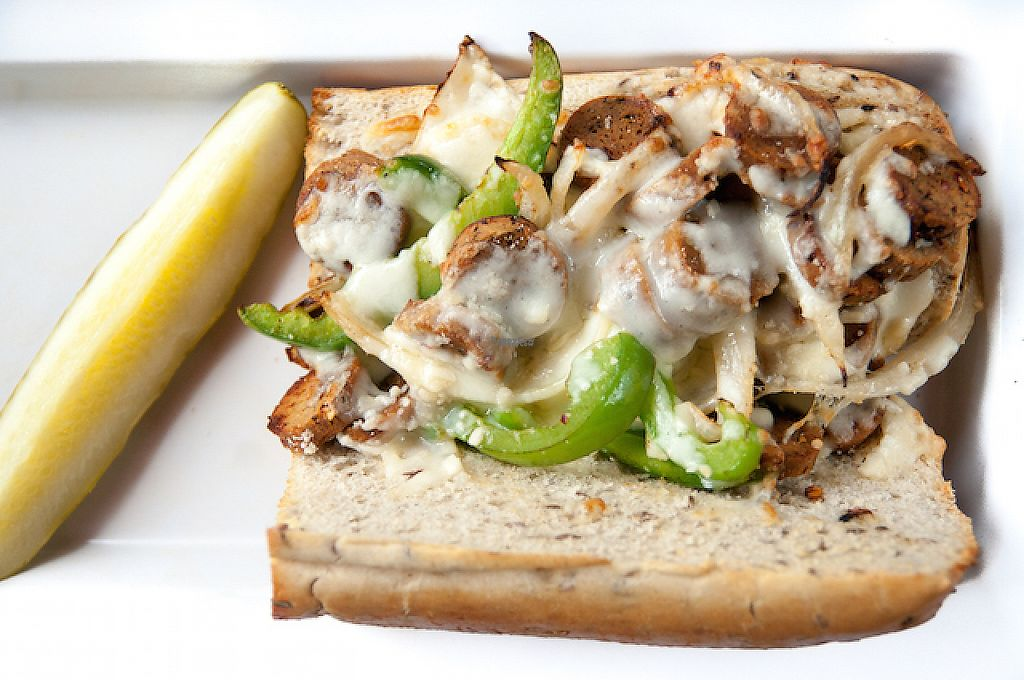 """Photo of No Evil Foods  by <a href=""""/members/profile/NoEvilFoods"""">NoEvilFoods</a> <br/>The Sausage Sandwich with No Evil Foods Plant Meat at Mellow Mushroom in Asheville, NC <br/> August 5, 2016  - <a href='/contact/abuse/image/45865/213627'>Report</a>"""