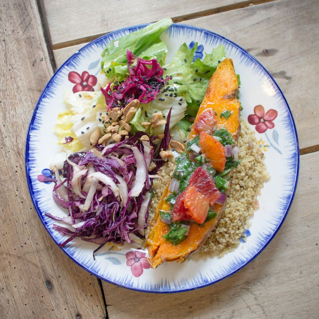 "Photo of Cantine Vagabonde  by <a href=""/members/profile/percifal"">percifal</a> <br/>Roasted sweet potatoes, orange salsa, and quinoa salad.