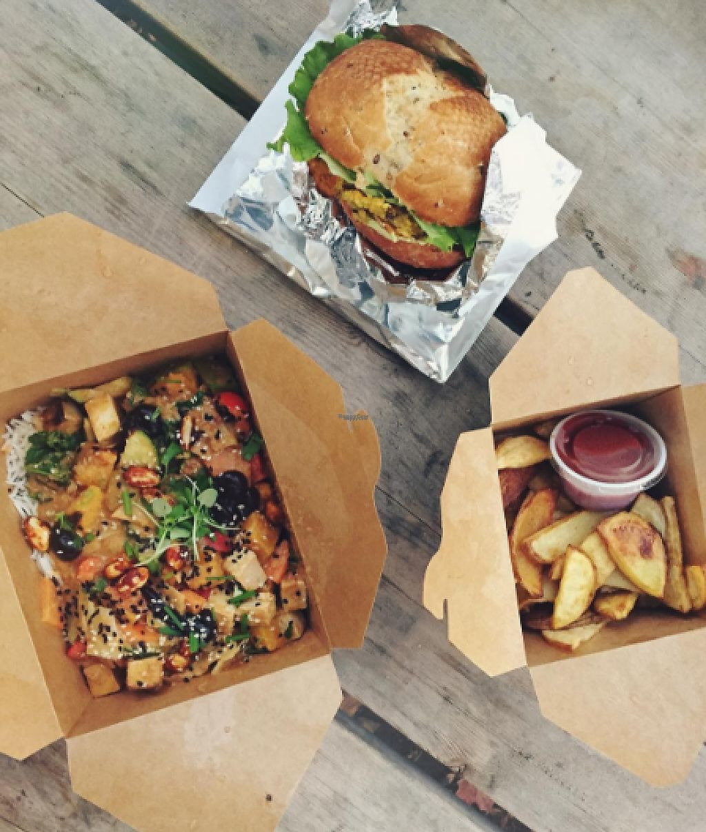 """Photo of CLOSED: Blossom Vegetarian Cafe  by <a href=""""/members/profile/tarsbo"""">tarsbo</a> <br/>Thai bowl and curried lentil burger with fries <br/> March 6, 2017  - <a href='/contact/abuse/image/45894/233527'>Report</a>"""