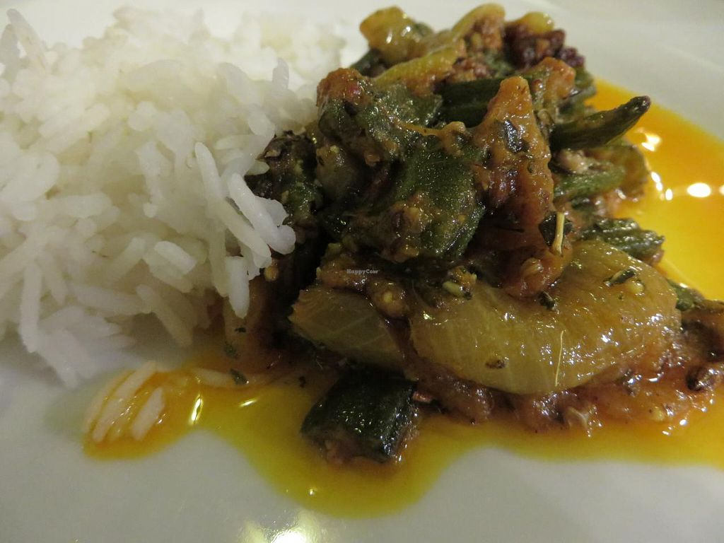 """Photo of Welcome  by <a href=""""/members/profile/VegiAnna"""">VegiAnna</a> <br/>Bhindi (fresh okra with onions, tomatoes, ginger, garlic, and spices) <br/> April 3, 2014  - <a href='/contact/abuse/image/45939/66955'>Report</a>"""