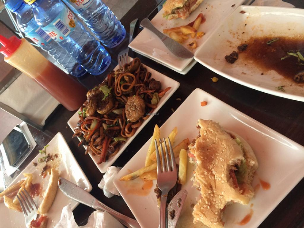 """Photo of Cafe y te Pacifico  by <a href=""""/members/profile/AliciaGalindo"""">AliciaGalindo</a> <br/>burgers and fried noodles!  <br/> May 31, 2015  - <a href='/contact/abuse/image/46040/104284'>Report</a>"""