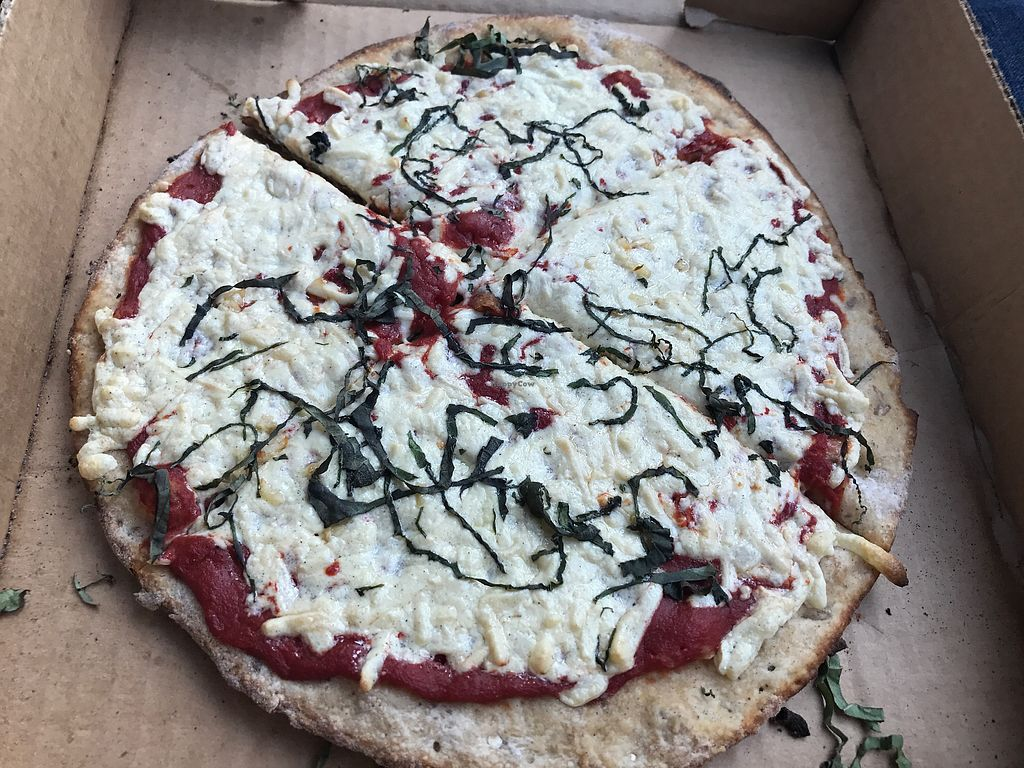 """Photo of Earth Pizza  by <a href=""""/members/profile/BrieM"""">BrieM</a> <br/>multi-grain crust, tomato sauce, daiya cheese & fresh garlic and basil.  <br/> August 20, 2017  - <a href='/contact/abuse/image/46042/294768'>Report</a>"""