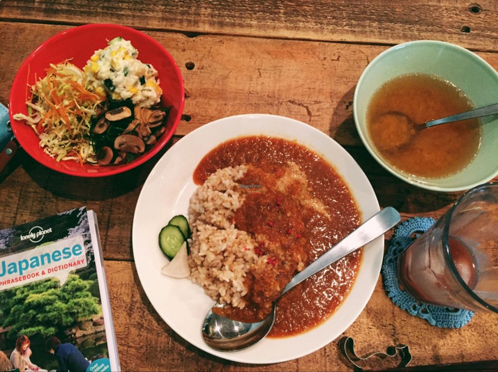 """Photo of Phono Kafe  by <a href=""""/members/profile/Michelleykat"""">Michelleykat</a> <br/>curry, rice, veggies, and miso soup  <br/> May 17, 2016  - <a href='/contact/abuse/image/46073/149544'>Report</a>"""