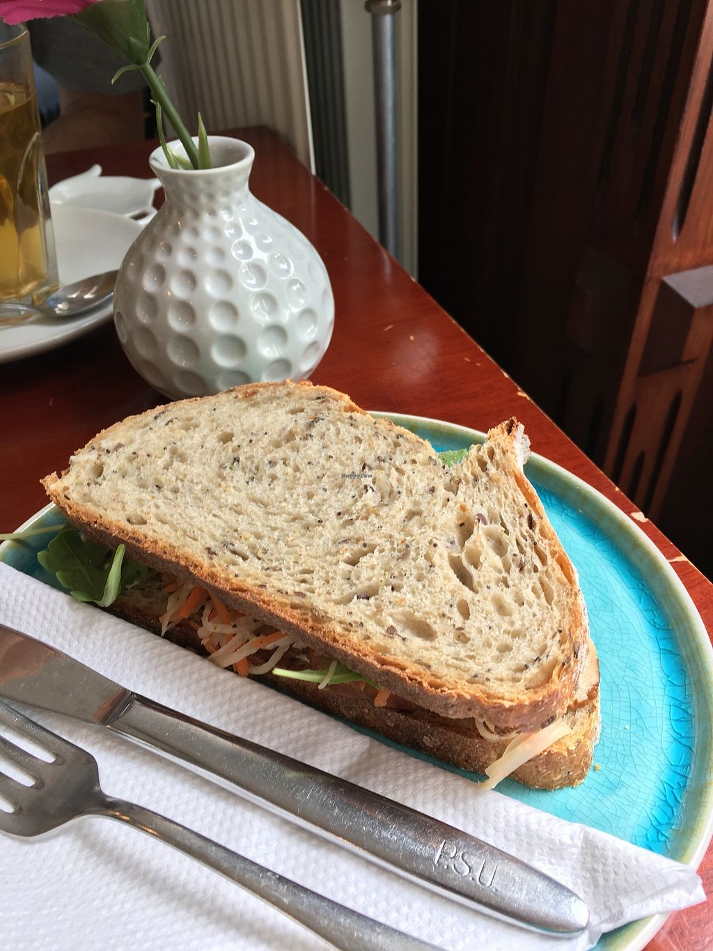 """Photo of Koffie ende Koeck  by <a href=""""/members/profile/vegan%20frog"""">vegan frog</a> <br/>Veggie sourdough sandwich <br/> July 1, 2017  - <a href='/contact/abuse/image/46128/275696'>Report</a>"""