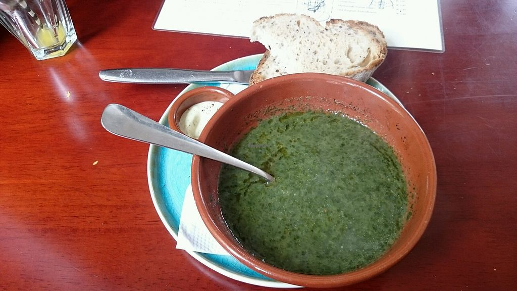 """Photo of Koffie ende Koeck  by <a href=""""/members/profile/MonaV"""">MonaV</a> <br/>Green soup, bread + delicious spread  <br/> April 25, 2018  - <a href='/contact/abuse/image/46128/390845'>Report</a>"""