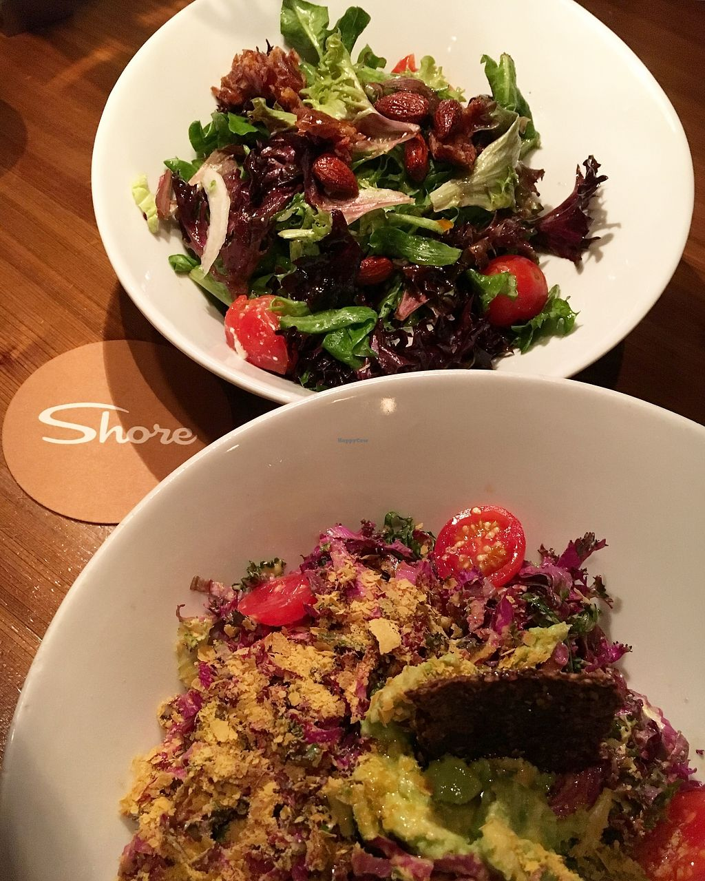 """Photo of Shore Diner  by <a href=""""/members/profile/sousuneautrelentille"""">sousuneautrelentille</a> <br/>Kale Caesar (bottom) and green salad (top) <br/> March 5, 2018  - <a href='/contact/abuse/image/46133/366906'>Report</a>"""
