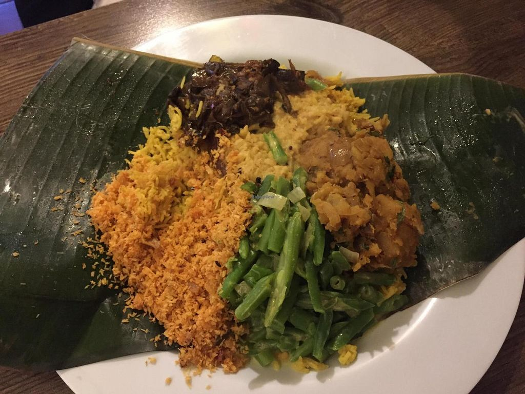 """Photo of 7 Siri - Taste of  Sri Lanka  by <a href=""""/members/profile/happychap77"""">happychap77</a> <br/>Veg curries and rice <br/> November 11, 2014  - <a href='/contact/abuse/image/46134/85194'>Report</a>"""