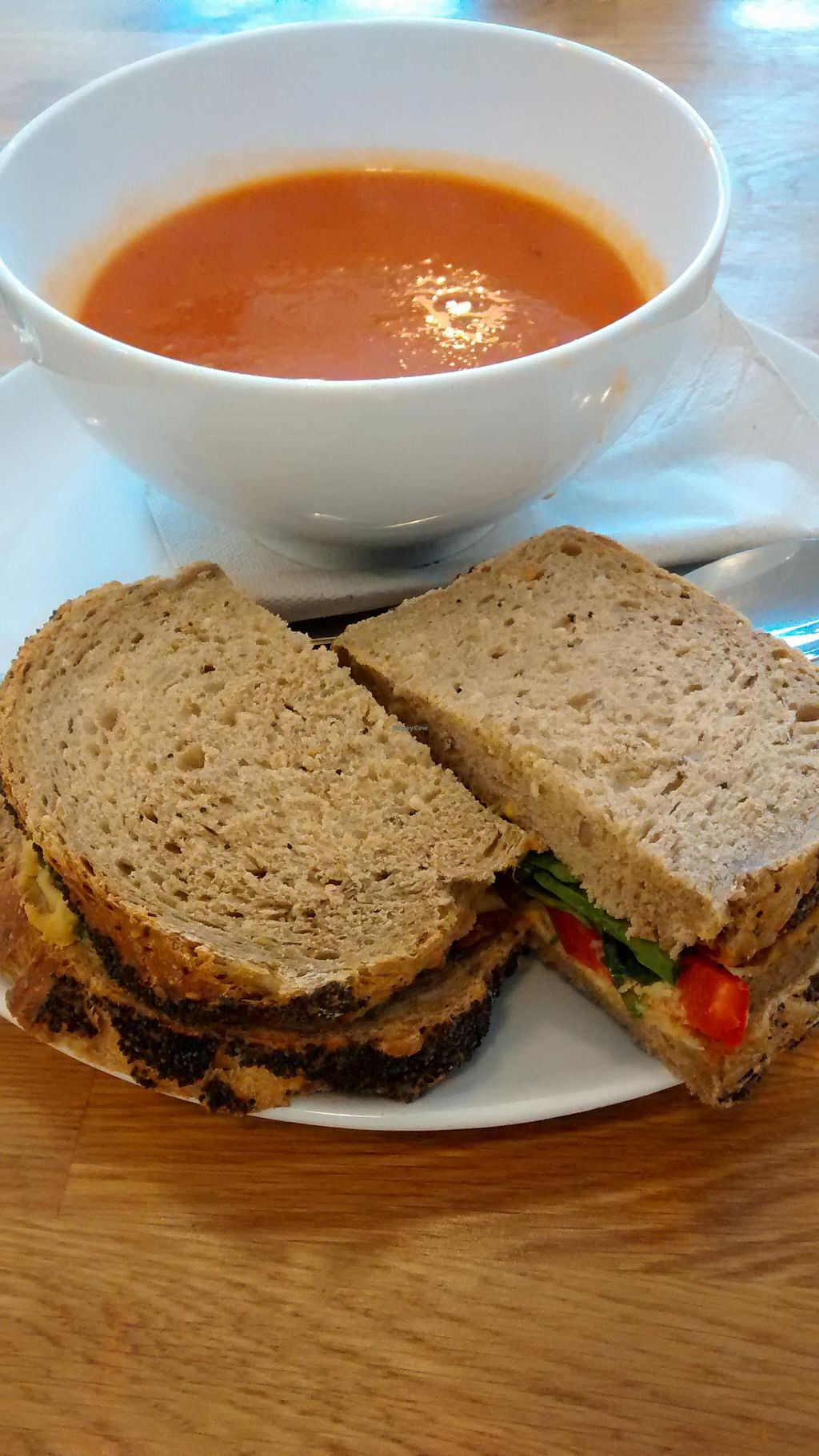 """Photo of CLOSED: Meadowlark No. 39  by <a href=""""/members/profile/craigmc"""">craigmc</a> <br/>Red pepper soup with harissa, and a houmous and ted pepper sandwich. Tasty <br/> April 17, 2014  - <a href='/contact/abuse/image/46150/67779'>Report</a>"""