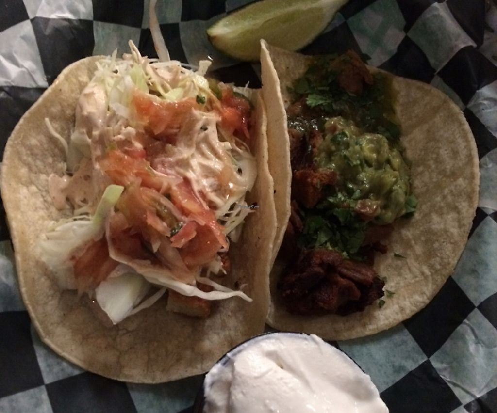 "Photo of Pelon's Baja Grill  by <a href=""/members/profile/Missjez"">Missjez</a> <br/>vegan 'fish' taco and vegan 'carne' asada taco with vegan sour cream <br/> December 19, 2015  - <a href='/contact/abuse/image/46156/232744'>Report</a>"