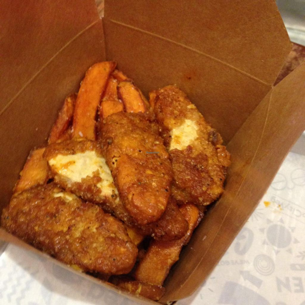 """Photo of HipCityVeg - University City  by <a href=""""/members/profile/meldydoody"""">meldydoody</a> <br/>buffalo chicken with seer potato fries and aioli dip <br/> December 20, 2014  - <a href='/contact/abuse/image/46163/88383'>Report</a>"""