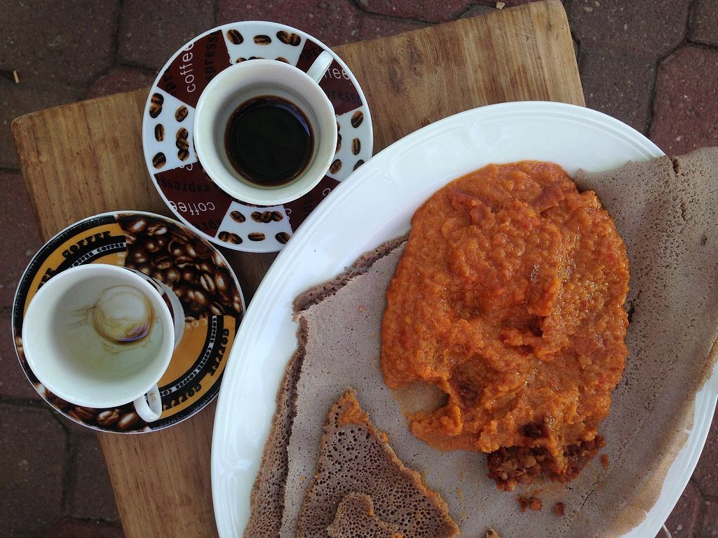 """Photo of Bio Markt  by <a href=""""/members/profile/TheModernHerbivore"""">TheModernHerbivore</a> <br/>Ethiopian coffee and food <br/> August 10, 2017  - <a href='/contact/abuse/image/46191/291216'>Report</a>"""