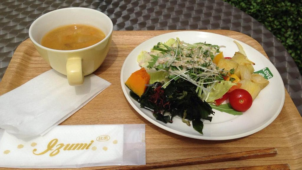 """Photo of LOVE Pacific Cafe  by <a href=""""/members/profile/viaviolet"""">viaviolet</a> <br/>Salad and Soup from the LOVE Pacific Cafe <br/> May 18, 2015  - <a href='/contact/abuse/image/46216/102658'>Report</a>"""