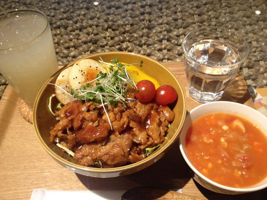 """Photo of LOVE Pacific Cafe  by <a href=""""/members/profile/Kimxula"""">Kimxula</a> <br/>Soup and rice & soy meat bowl <br/> June 14, 2015  - <a href='/contact/abuse/image/46216/105904'>Report</a>"""