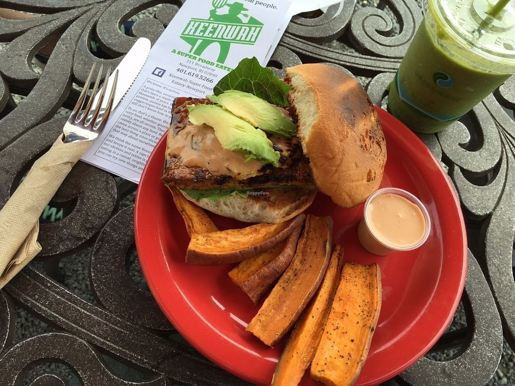 "Photo of Keenwah Super Food Eatery  by <a href=""/members/profile/Earth%20Angel%20Outreach"">Earth Angel Outreach</a> <br/>Vegan Gluten Free!!! This Smokey Tempeh Burger was AWESOME!!!! Plus this place has outdoor seating and is dog friendly outside. When in Newport on a nice day this place is the best! <br/> July 14, 2016  - <a href='/contact/abuse/image/46217/159827'>Report</a>"