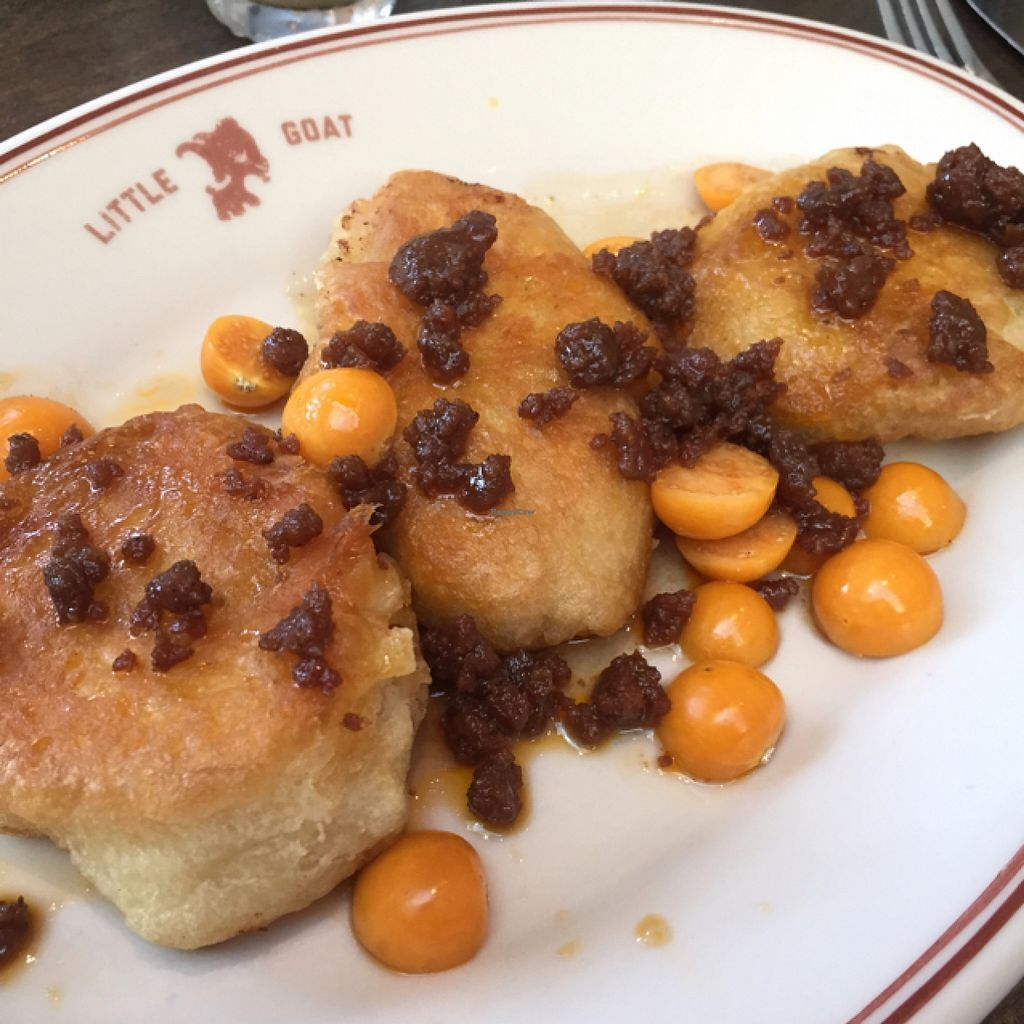 """Photo of Little Goat Diner  by <a href=""""/members/profile/happycowgirl"""">happycowgirl</a> <br/>vegan crumpets <br/> September 14, 2015  - <a href='/contact/abuse/image/46262/117769'>Report</a>"""